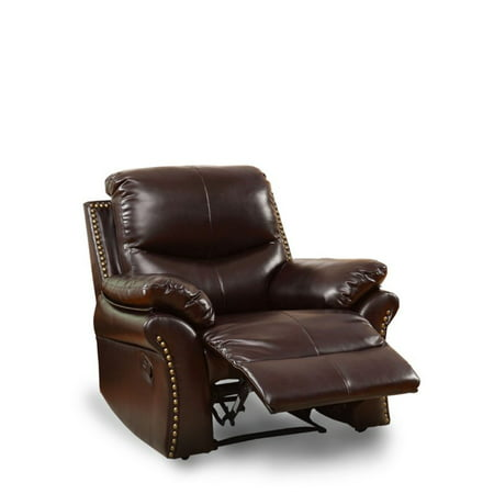 Bowery Hill Leather Recliner in Rustic Dark Brown