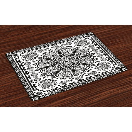 Ethnic Placemats Set of 4 Ethnic Mandala Floral Lace Paisley Mehndi Design Tribal Lace Image Art Print, Washable Fabric Place Mats for Dining Room Kitchen Table Decor,Black and White, by