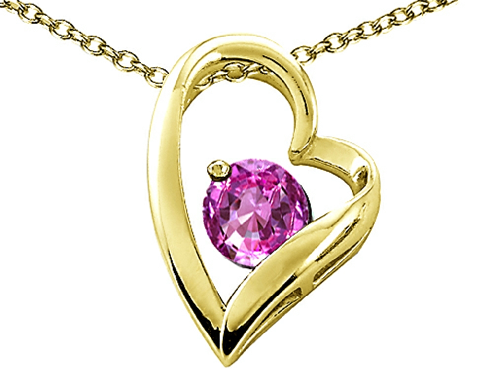 Tommaso Design Heart Shaped Simulated Pink Tourmaline 7mm Round Pendant Necklace by