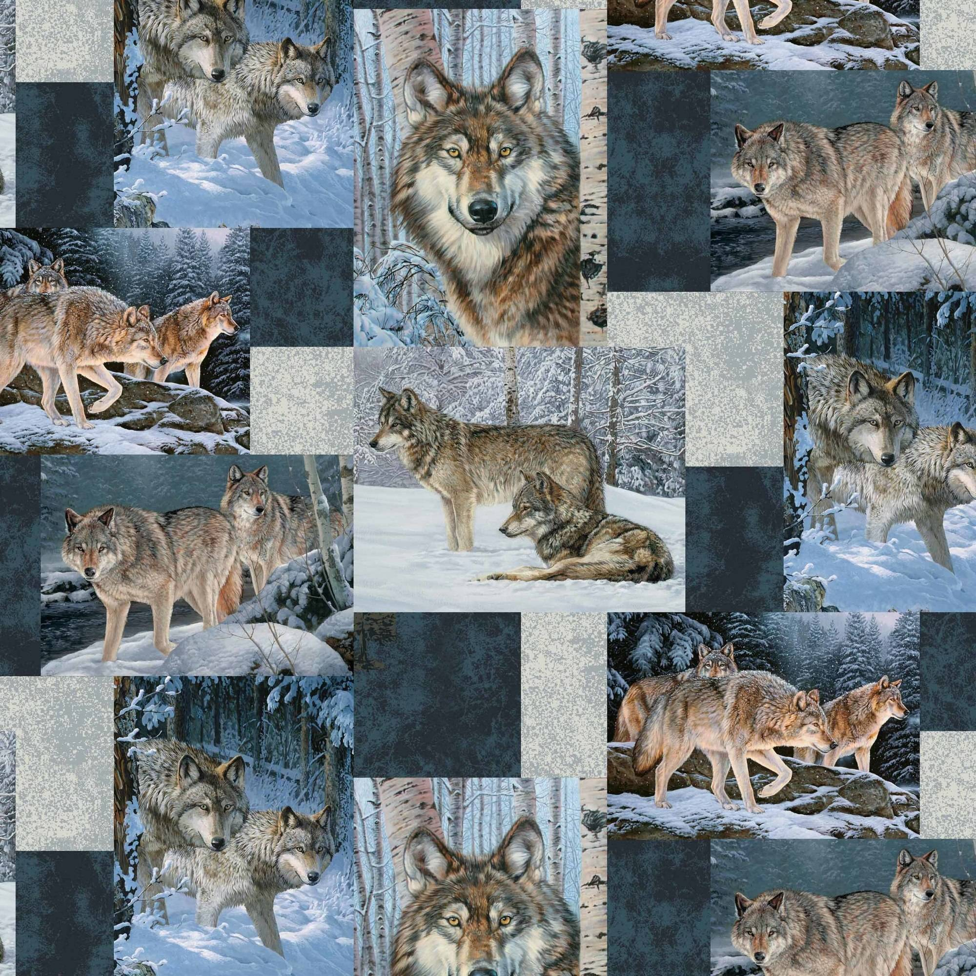 David Textiles, Inc. Wolves Patchwork Anti-Pill Fleece Fabric By The Yard, 60""