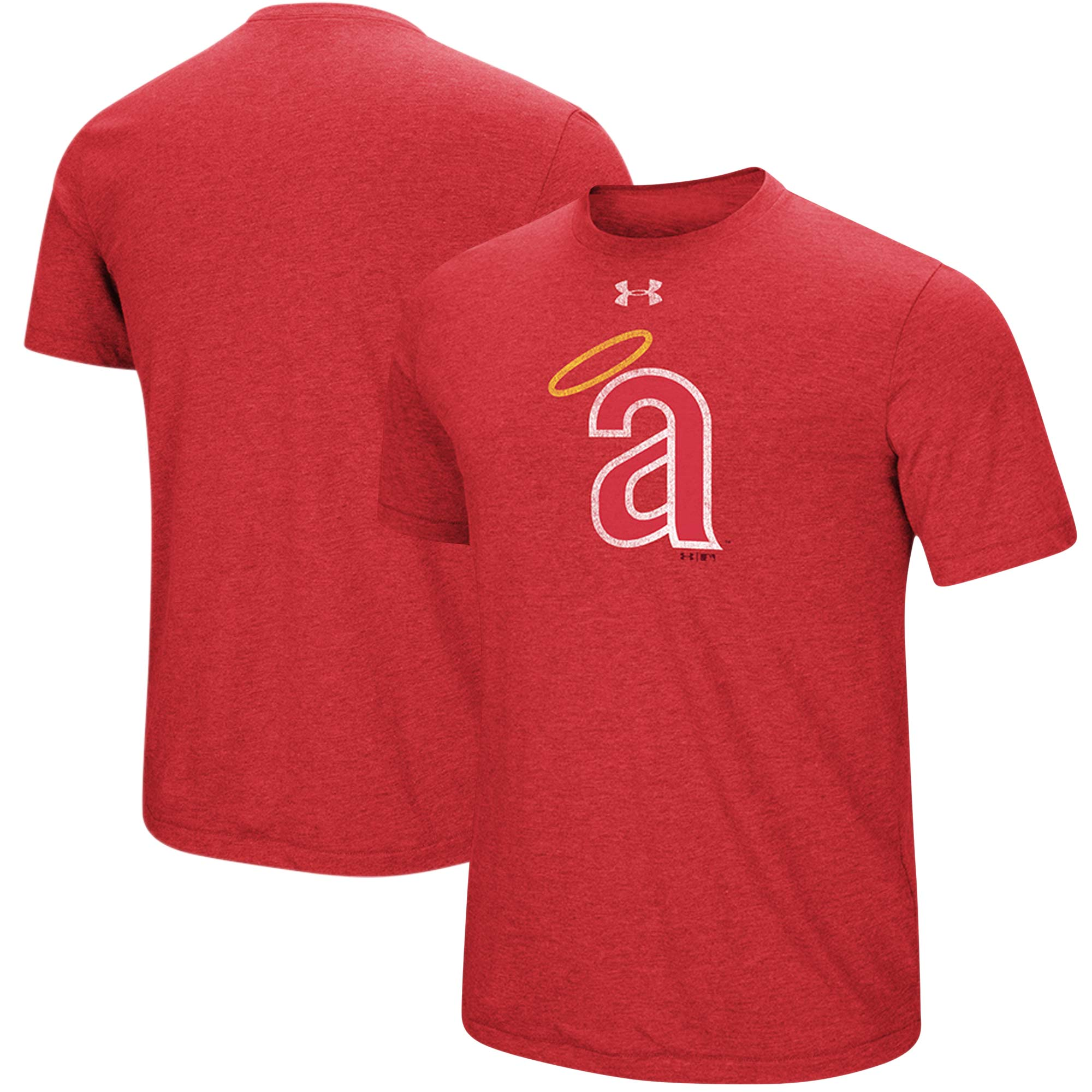 California Angels Under Armour Cooperstown Collection Mark Performance Tri-Blend T-Shirt - Heathered Red