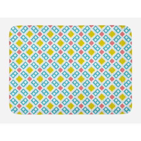 - Ikat Bath Mat, Various Sized Different Ikat Lines Blurred Vertical Axis Symmetrical Aesthetic, Non-Slip Plush Mat Bathroom Kitchen Laundry Room Decor, 29.5 X 17.5 Inches, Mustard Blue Pink, Ambesonne