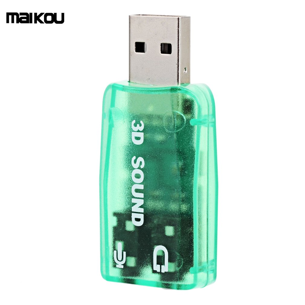 2018 New Maikou External USB Sound Card 5.1 Channel Audio Card Adapter With 3.5mm Jack,green