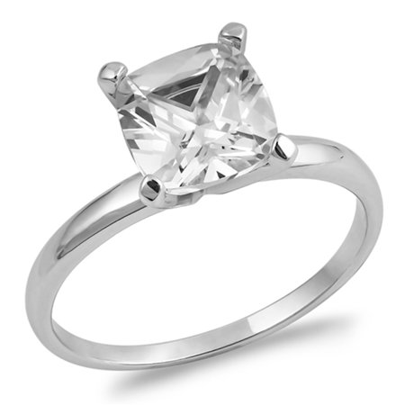 CHOOSE YOUR COLOR White CZ Square Facet Solitaire Engagement Ring Sterling Silver Band (Clear Simulated CZ/Ring Size 7) ()