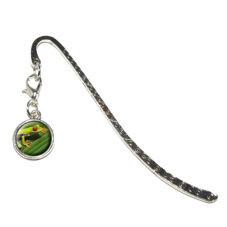 Red Eyed Tree Frog Metal Bookmark with Charm