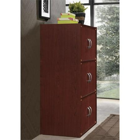 Hodedah 3 Shelf 6 Door Bookcase in Mahogany - image 2 de 5