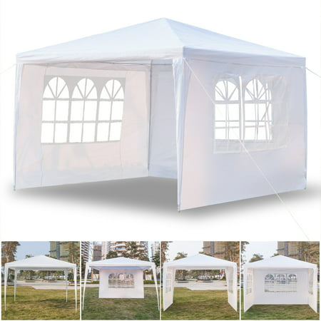 10' x 10' Canopy Tent with 3 Side Walls, Heavy Duty Patio Gazebos Tent Outdoor Party Wedding Tent, Portable Sunshade Shelter Folding Canopy - UV Coated, Waterproof Gazebo Tent for Outside, I7397 ()