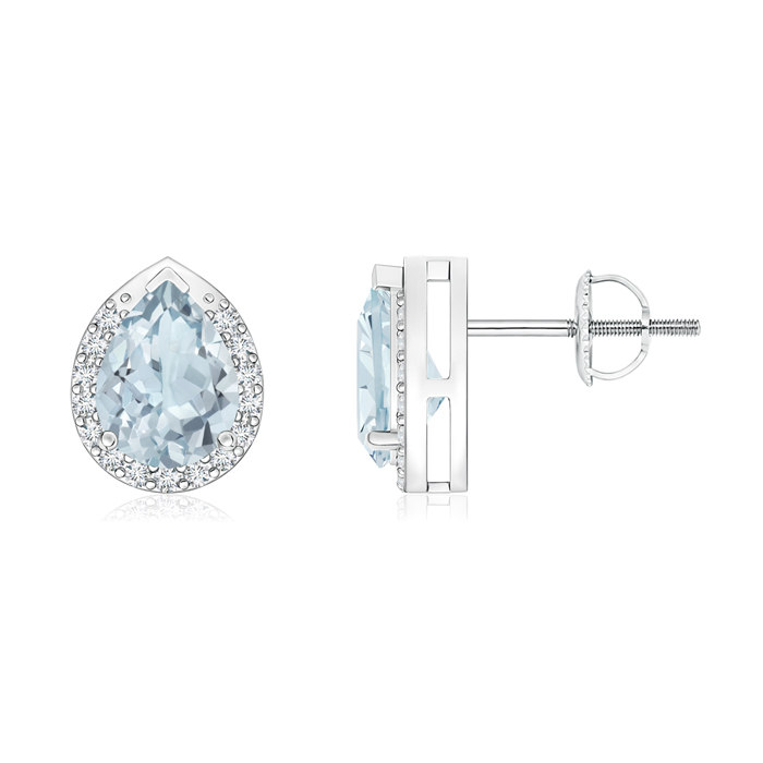 Angara Pear-Shaped Aquamarine Stud Earrings with Diamond Halo rcZh3M