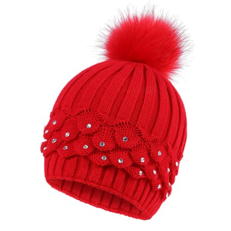 Cable Knit Beanie with Sequins and Faux Fur Pompom for Women, (Sequin Cable)