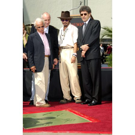 Richard Zanuck Johnny Depp Alan Horn At The Press Conference For Handprint & Footprint Ceremony For Johnny Depp GraumanS Chinese Theatre Los Angeles Ca September 16 2005 Photo By Michael