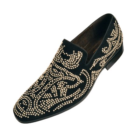 Asher Green Mens Gold Studded Nightclub Smoking Slipper, Slip-On Tuxedo Dress Shoe Available in Black, Red, & Blue - Tuxedo Heels