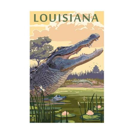 Louisiana - Alligator and Baby Print Wall Art By Lantern Press