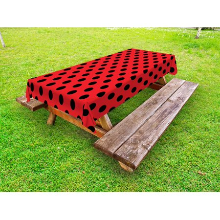 Red and Black Outdoor Tablecloth, Retro Vintage Pop Art Theme Old 60s 50s Rocker Inspired Bold Polka Dots Image, Decorative Washable Fabric Picnic Table Cloth, 58 X 84 Inches,Scarlet, by Ambesonne - 50s Table
