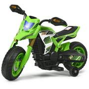 Costway 6V Electric Kids Ride-On Motorcycle Battery Powered Bike w/Training Wheels, Green