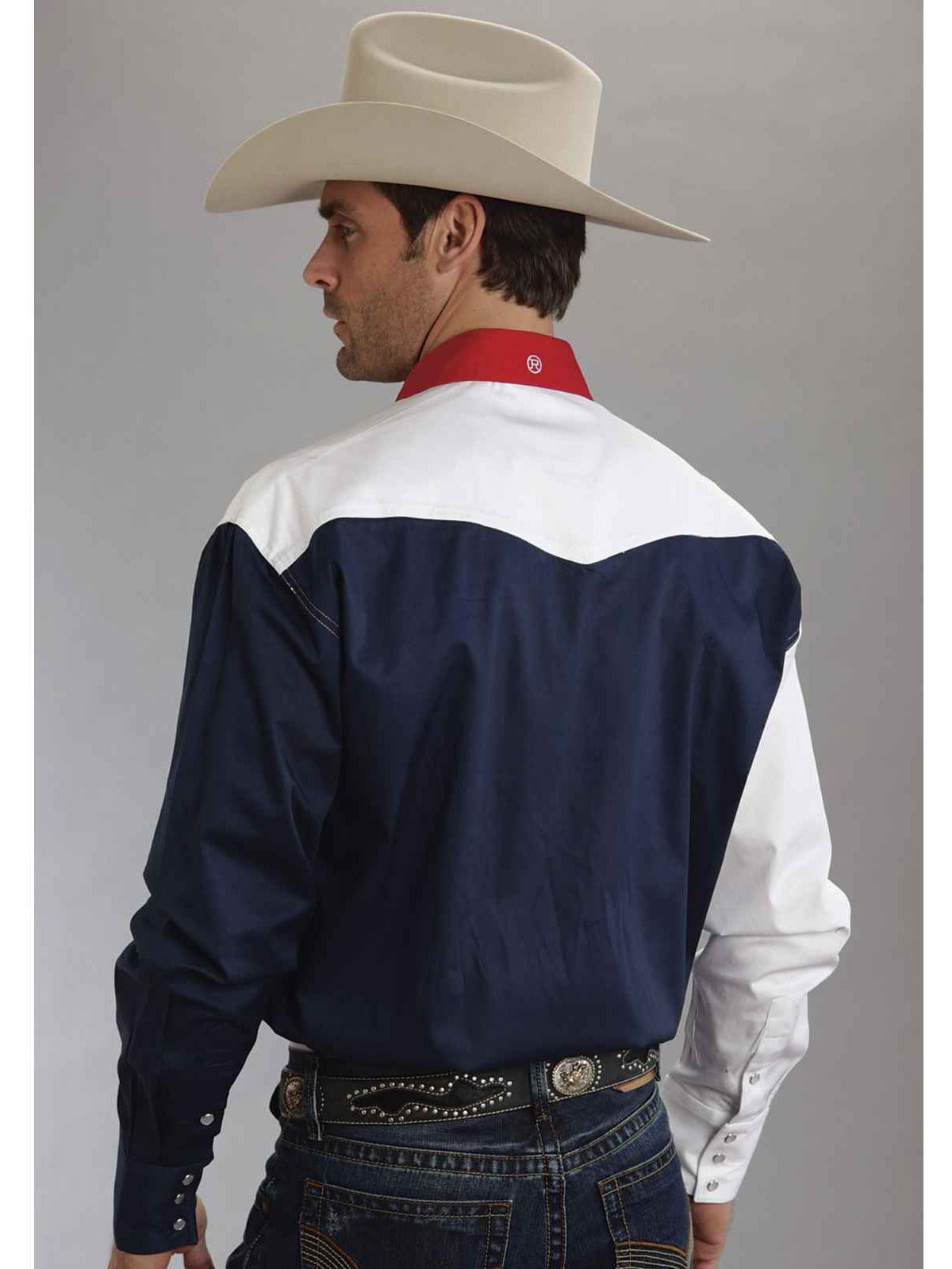 Roper Western Shirt Mens L//S USA Flag Snap Blue 03-001-0185-0304 BU