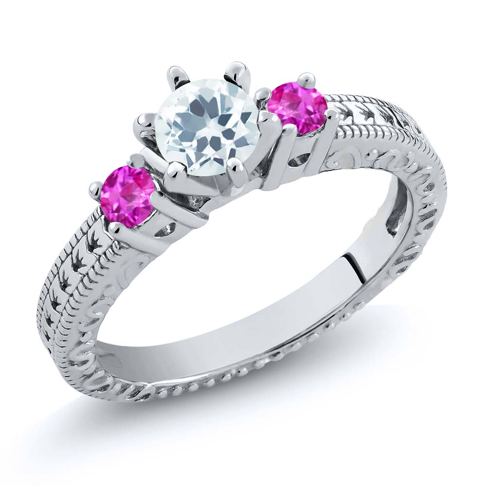 0.71 Ct Round Sky Blue Aquamarine Pink Sapphire 14K White Gold 3-Stone Ring by