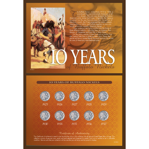 American Coin Treasures 10 Years of Buffalo Nickels Memorabilia