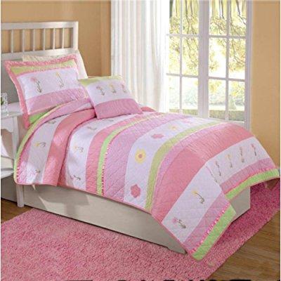 Tara Stripe Bedding Quilt Set, Pink