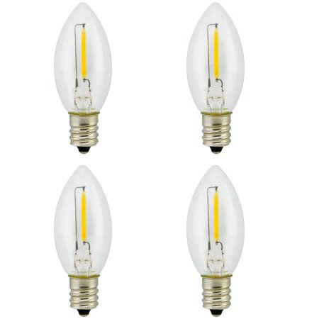 Promotion! Landlite Night Light Bulb LED C7 1W, Bullet/Candle Shape LED Bulb 120V 1W E12 Candelabra Screw Base, Accent Wall Night Light/Window Candles/Christmas Villages Replacement Bulb, 4Pack 1.0