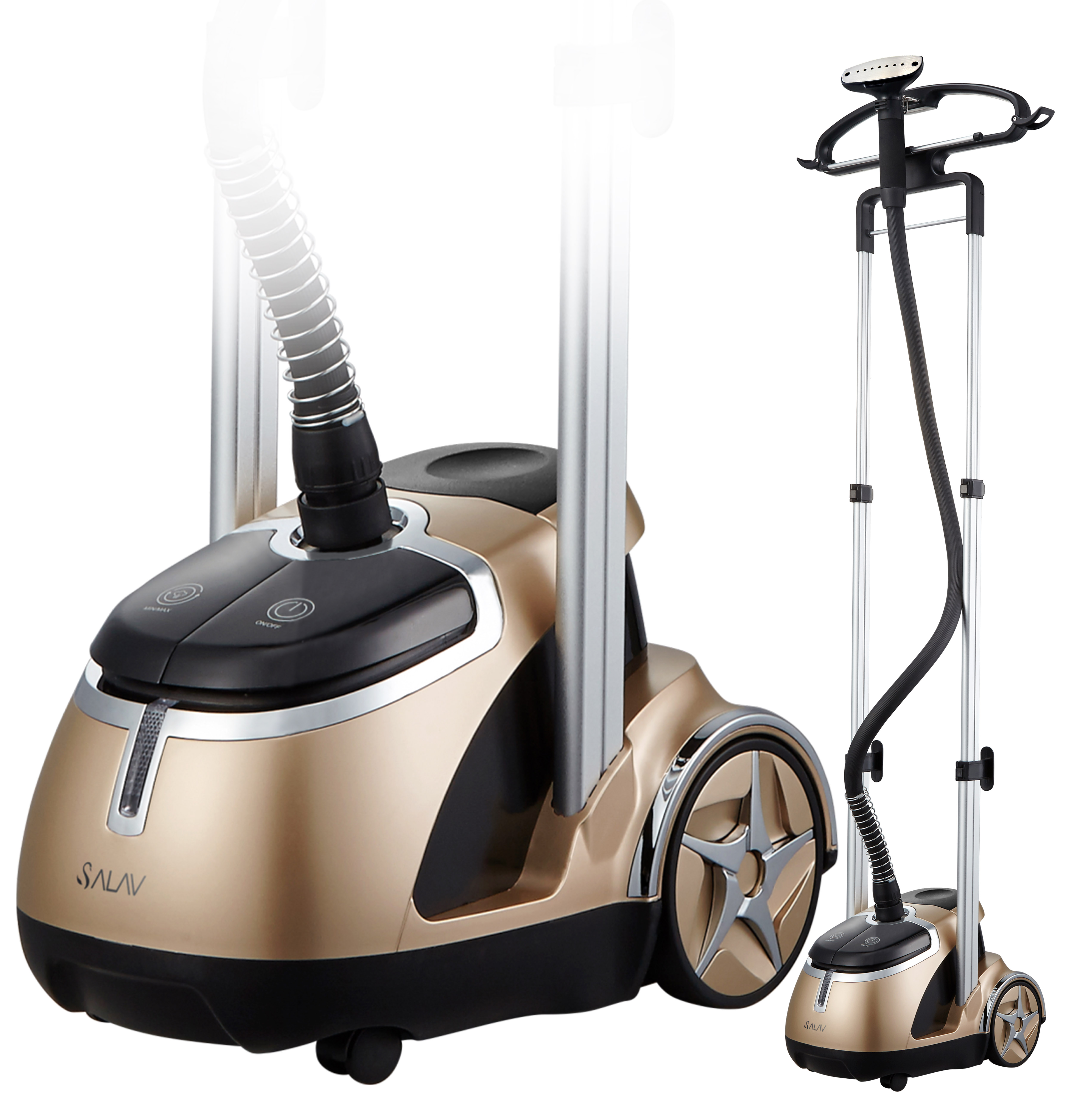 SALAV GS49-DJ Garment Steamer w Stainless Steel Nozzle & Foot Pedal Controls, Gold by Salav