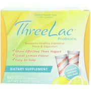 Global Health Trax ThreeLac Probiotic Dietary Supplement, Lemon flavored (60 packets)