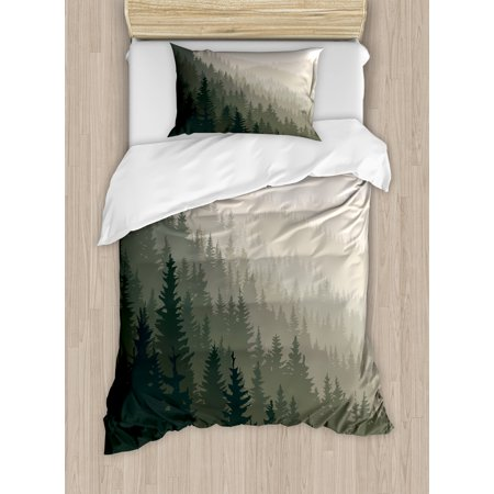 Forest Twin Size Duvet Cover Set, Northern Parts of the World with Coniferous Trees Scandinavian Woodland, Decorative 2 Piece Bedding Set with 1 Pillow Sham, Cream Tan Dark Green, by Ambesonne ()