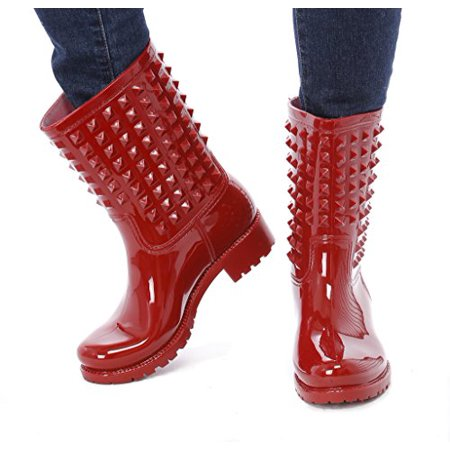 Slush & Rain Rubber comfortable Boots with studded details on shaft (Red (Shaft Rain Boot)