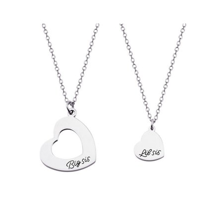 Myospark--Big Sister and Little Sister Matching Heart Necklace Set