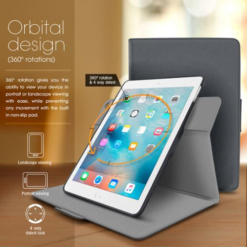 iPad Air Case - roocase Orb Folio 360 Rotating Case with Detachable iPad Air Shell for Apple iPad Air 1 2013 / Air 2 2014 [Support Smart Cover Sleep / Wake Feature], Gray