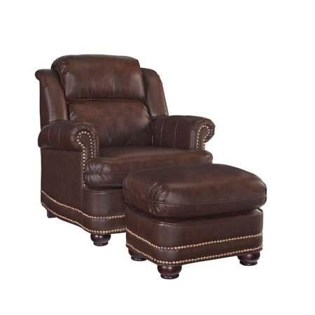 Bowery Hill Faux Leather Club Chair with Ottoman in Brown ()