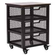 3 Drawer Metal Filing Cart, Black