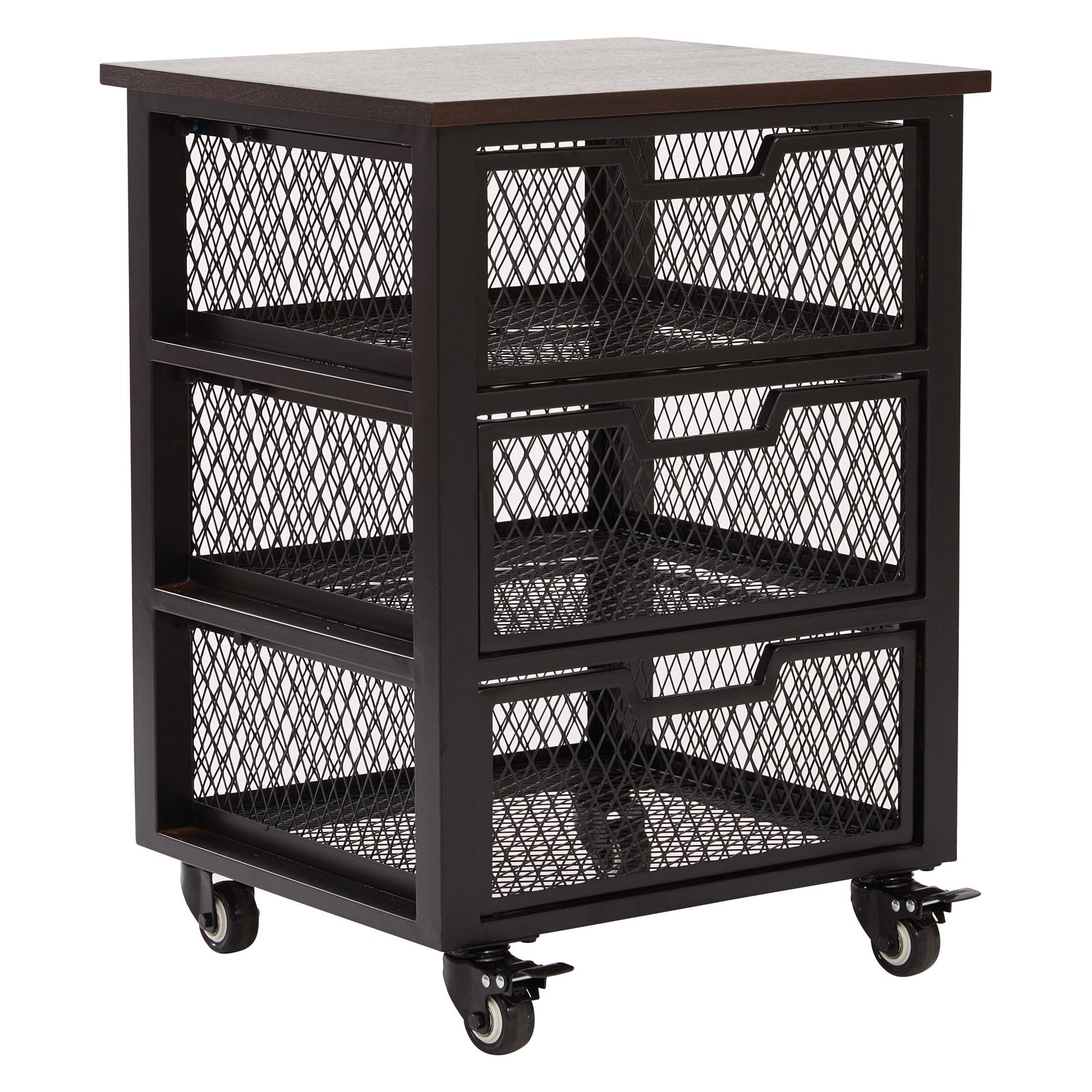 3 Drawer Metal Filing Cart, Black