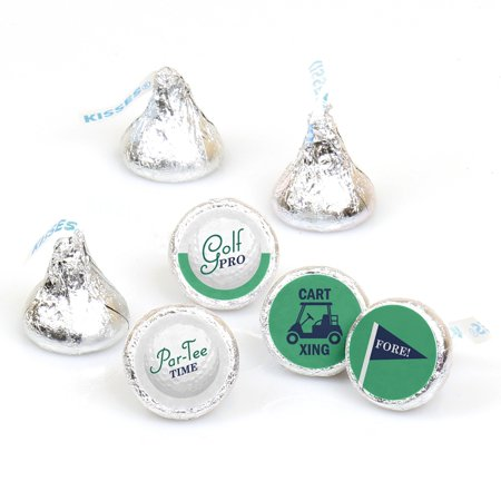 Par-Tee Time - Golf - Birthday or Retirement Party Round Candy Sticker Favors - Labels Fit Hershey's Kisses (1 sheet of - Golf Favors Ideas