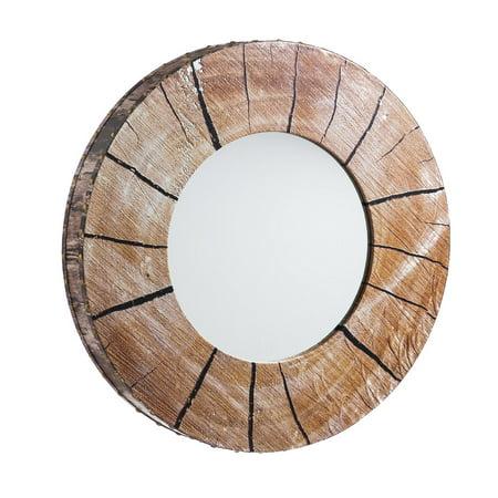 Cape Craftsmen Tree Round Wooden Wall Mirror
