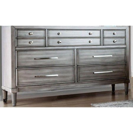 - Wooden Dresser with 10 Drawers , Gray
