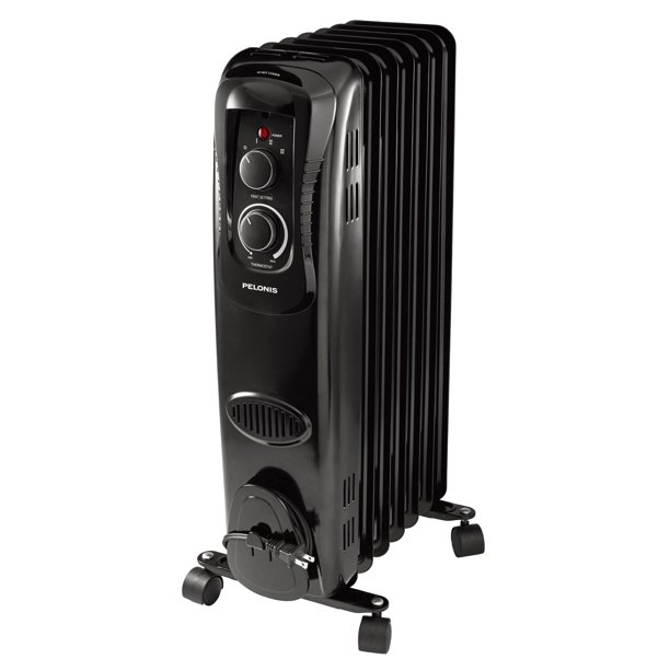 Pelonis Electric Oil Filled Heater With Adjustable Thermostat Ho 17la1b Black Walmart Com Walmart Com