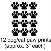 Cat - Dog - 12 Animal Paw Prints - Picture Art - Peel & Stick Vinyl Wall Decal Sticker 15X12 Sheet