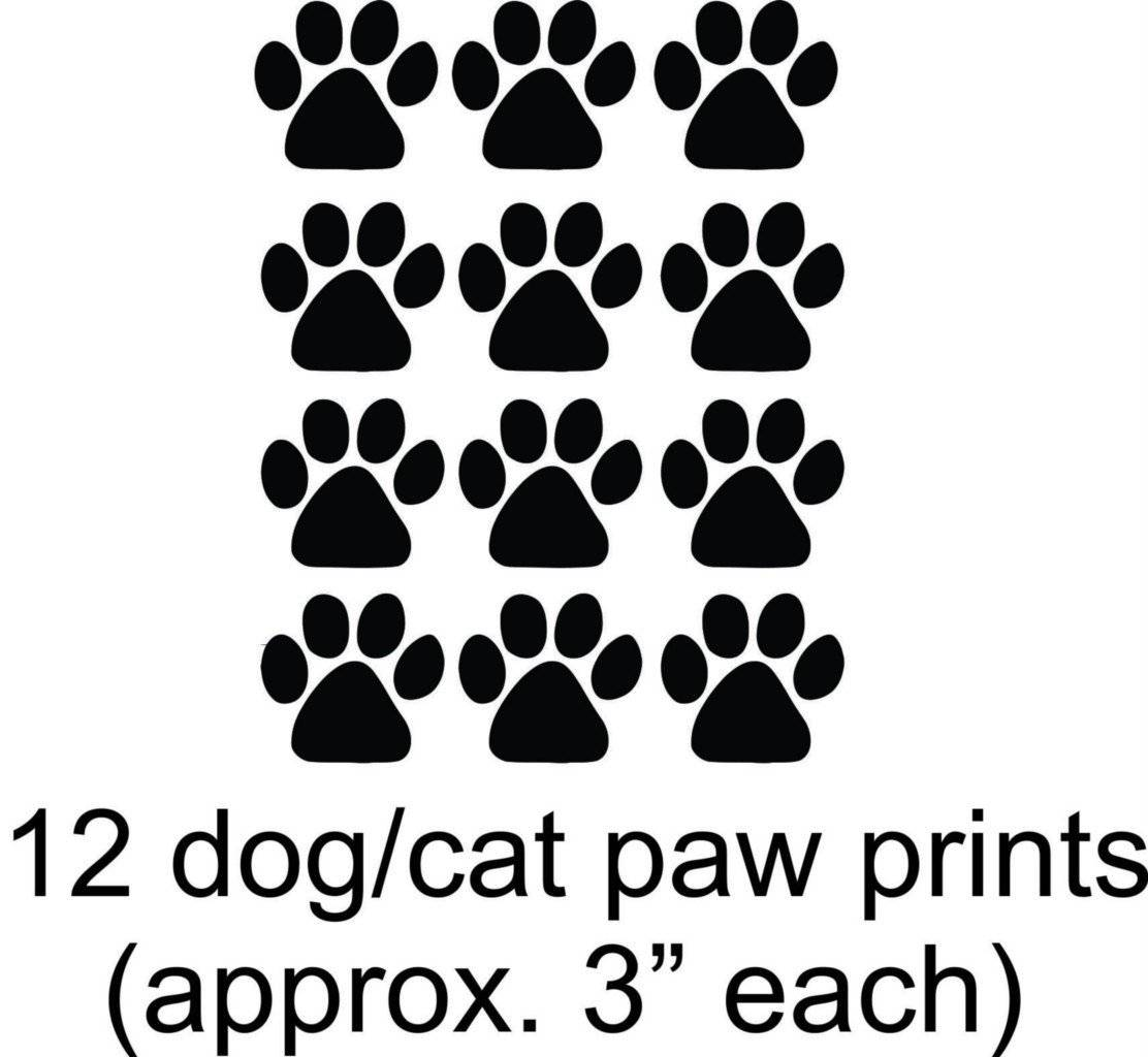 Cat - Dog - 12 Animal Paw Prints - Picture Art - Peel & Stick Vinyl Wall Decal Sticker 15X12 Sheet