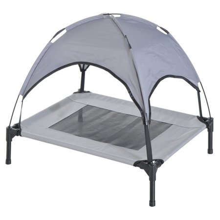 Pawhut Elevated Cooling Dog Bed Cot w/ Canopy Shade, Small, Gray (Canopy Dog Bed Small)