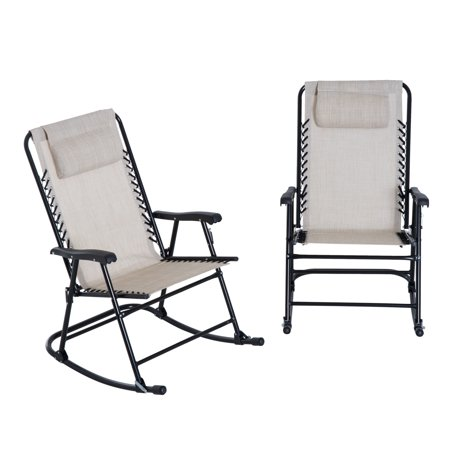 outsunny mesh outdoor patio folding rocking chair set cream white. Black Bedroom Furniture Sets. Home Design Ideas