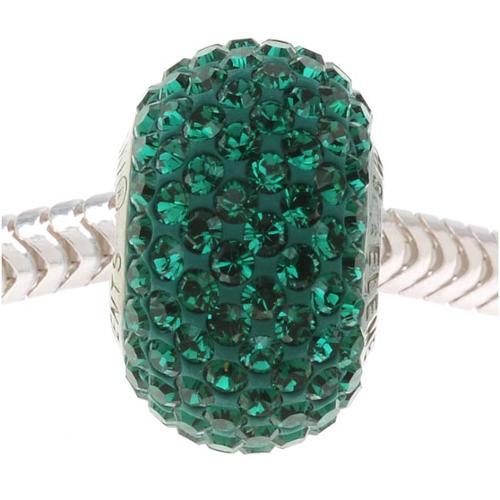 Swarovski Crystal, #80101 BeCharmed Pave European Style Lg Hole Bead 14mm, 1 Pc, Emerald