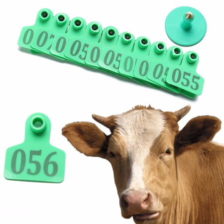 100Pcs 001-100 Random Number Animal Goat Sheep Pig Cow Plastic Livestock Ear Tag 2''x1.6'' with Nail