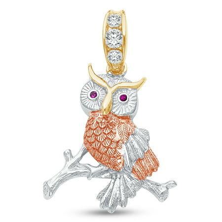 Tri Color Owl - 14K Tri 3 Color Gold Diamond-Cut Ornate Owl Charm Pendant with CZ Cubic Zirconia Accents (30x29 mm)