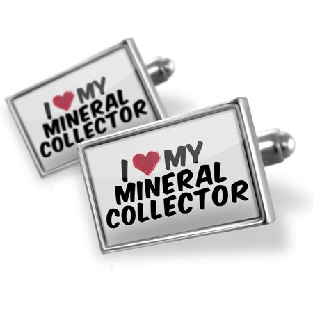 Cufflinks I Heart Love My Mineral Collector   Neonblond