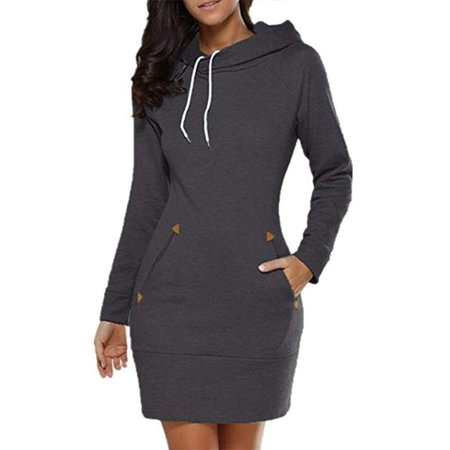 Women's Long Sleeve Slim Hooded Pullover Zipper Tunic Sweatshirt Dress Hoodies