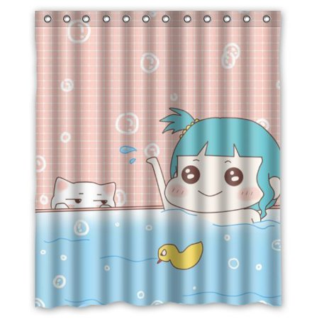 GreenDecor Cartoon Cute Girl In Tub Funny Cat Watch Waterproof Shower Curtain Set With Hooks Bathroom Accessories Size 60x72 Inches