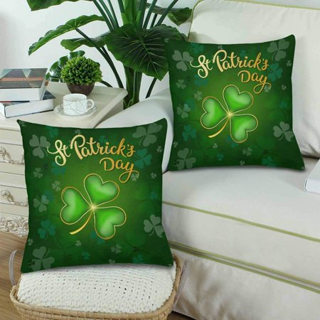 GCKG 2 Pack St. Patrick's Day with Lucky Shamrock Throw Cushion Pillow Case Covers 18x18 inches,Green Luck Clover Pillowcase Sets - image 2 of 3