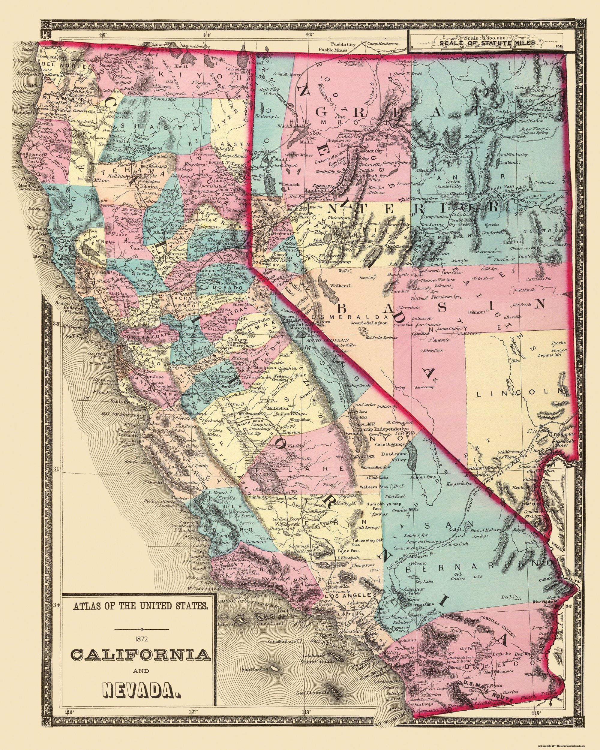 Map Of Nevada And California Old State Map   California, Nevada   1872   23 x 28.75   Walmart.com