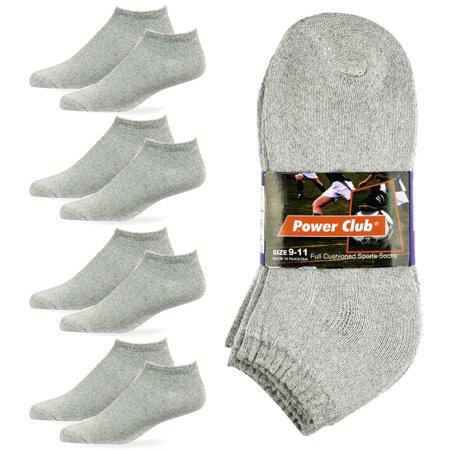 Gray Mens Socks (4 Pair No Show Sport Socks Men Cushioned Crew Athletic Basketball Size 9-11 Grey)