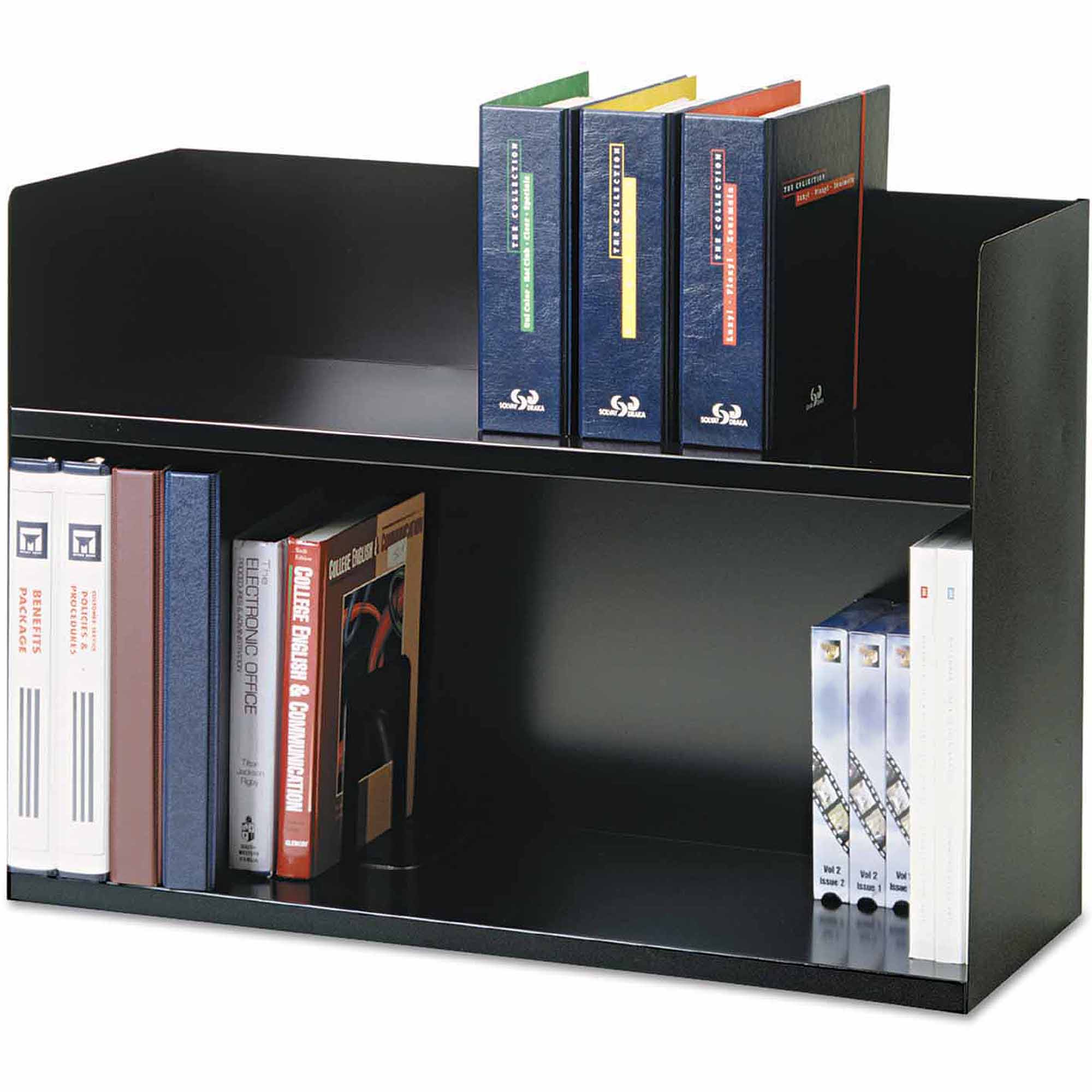 "SteelMaster 2-Tier Book Rack, Steel, 29-1/8"" x 10-3/8"" x 20"", Black"